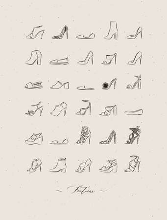 Women shoes different types set drawing in vintage style on beige background