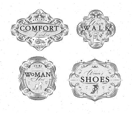 Shoes labels vintage with inscriptions comfort sneakers, warm walk, woman footwear drawing in retro style on white background Иллюстрация