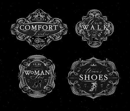 Shoes labels vintage with inscriptions comfort sneakers, warm walk, woman footwear drawing in retro style on black background