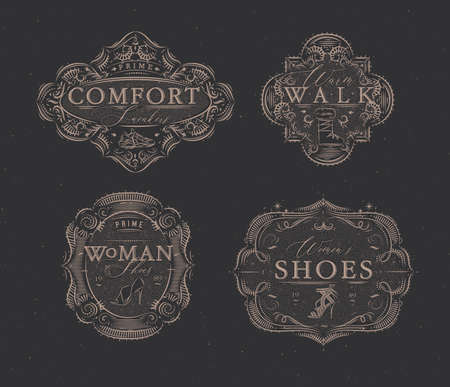 Shoes labels vintage with inscriptions comfort sneakers, warm walk, woman footwear drawing in retro style on brown background