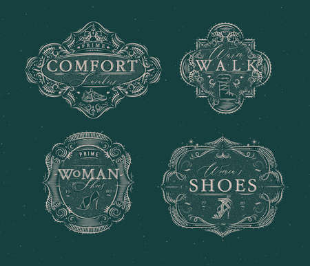 Shoes labels vintage with inscriptions comfort sneakers, warm walk, woman footwear drawing in retro style on green background Иллюстрация