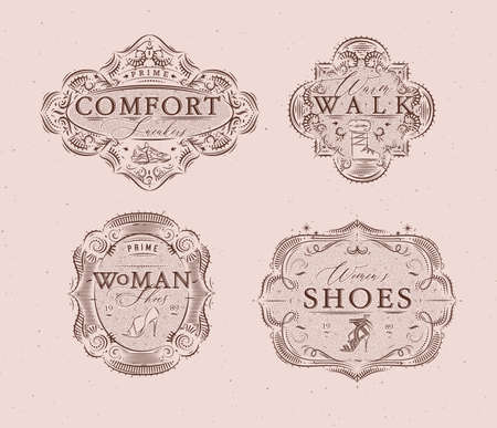 Shoes labels vintage with inscriptions comfort sneakers, warm walk, woman footwear drawing in retro style on peach color background