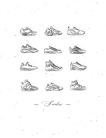Men shoes different types of sneakers set drawing in vintage style on white background