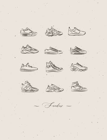 Men shoes different types of sneakers set drawing in vintage style on beige background Иллюстрация