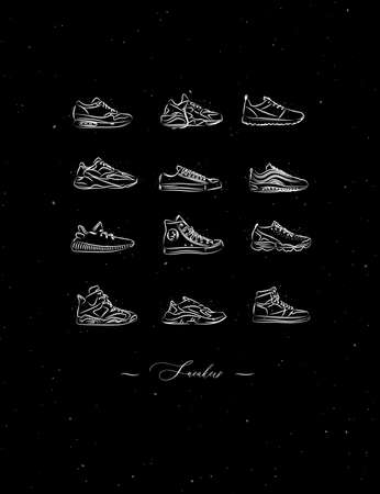 Men shoes different types of sneakers set drawing in vintage style on black background