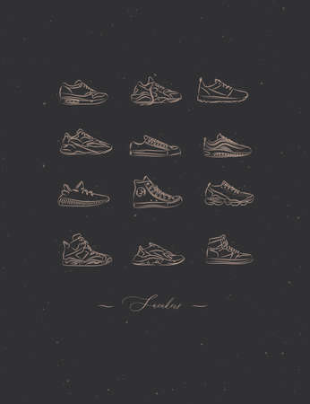 Men shoes different types of sneakers set drawing in vintage style on brown background Иллюстрация