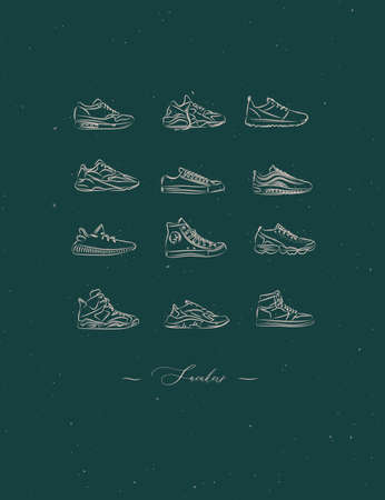 Men shoes different types of sneakers set drawing in vintage style on green background