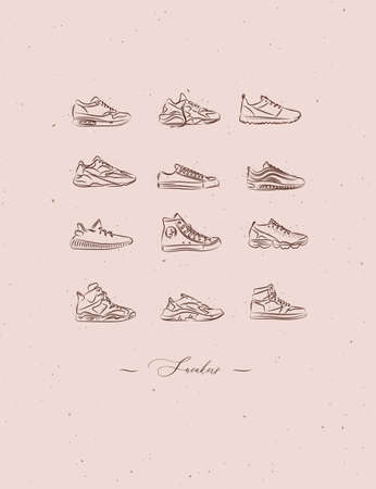 Men shoes different types of sneakers set drawing in vintage style on peach color background