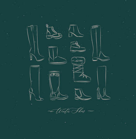 Women winter shoes different types set drawing in vintage style on green background