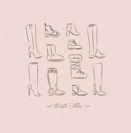 Women winter shoes different types set drawing in vintage style on peach color background Иллюстрация