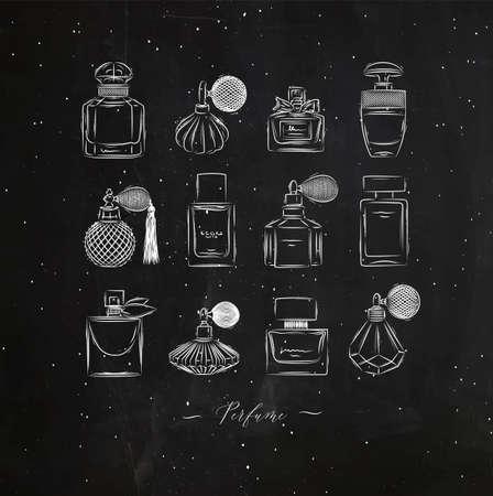Perfume bottles for fragrance set drawing in vintage style on black background Иллюстрация