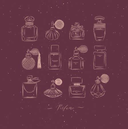 Perfume bottles for fragrance set drawing in vintage style on red background Иллюстрация