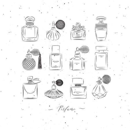 Perfume bottles for fragrance set drawing in vintage style on white background Иллюстрация