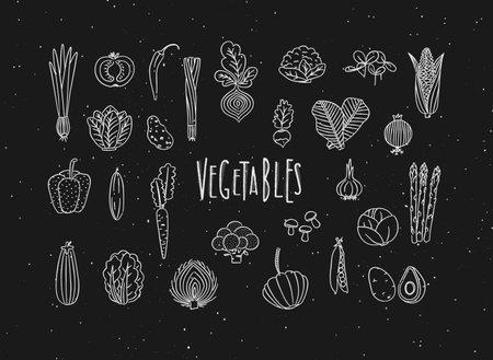 Set of vegetable icons onion, tomato, lettuce, chili, pepper, beets, radish, corn, leek, cucumber, carrot, garlic, asparagus, mushrooms, eggplant, lettuce artichoke broccoli pumpkin peas avocado drawing in handmade line style on black background