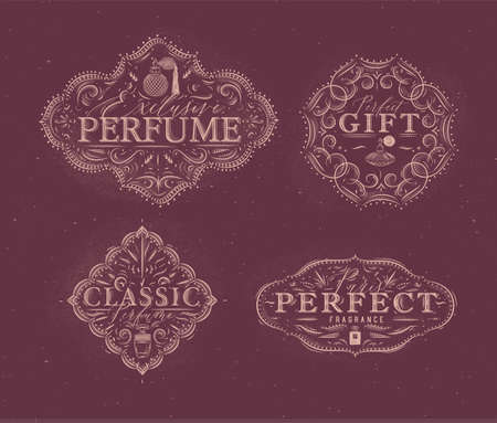 Perfume vintage badges with fragrance bottle set drawing in retro style on red background