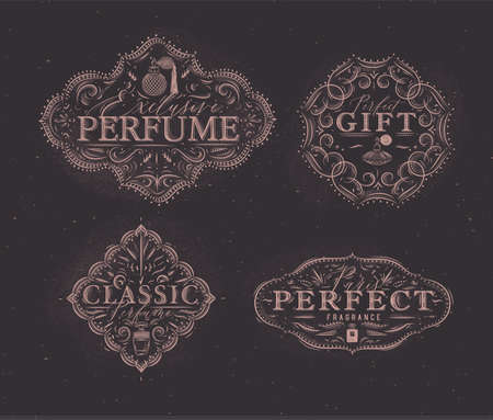 Perfume vintage badges with fragrance bottle set drawing in retro style on brown background