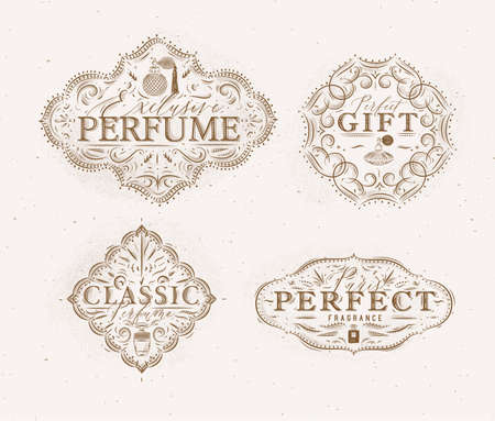 Perfume vintage badges with fragrance bottle set drawing in retro style on beige background