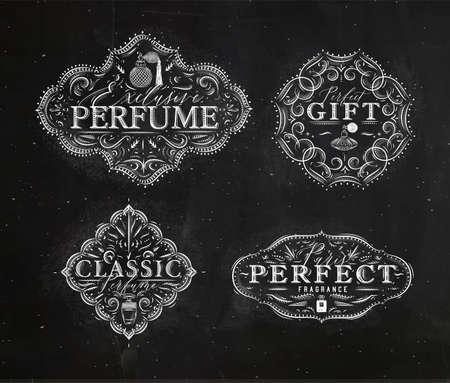 Perfume vintage badges with fragrance bottle set drawing in retro style on black background