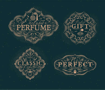 Perfume vintage badges with fragrance bottle set drawing in retro style on green background