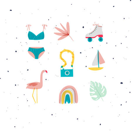 Summer elements swimsuit, leaf, flower, rollers, camera, boat, flamingo, rainbow, tropical leaf