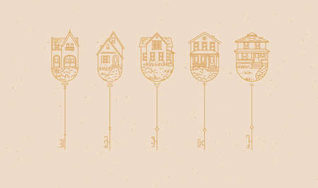 Set of house key collection in modern line style drawing on beige background.