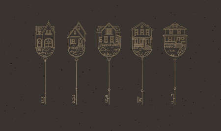 Set of house key collection in modern line style drawing on brown background.