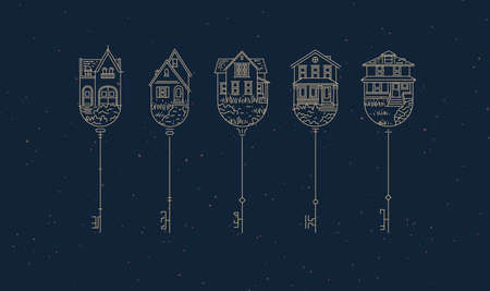 Set of house key collection in modern line style drawing on blue background. 矢量图像