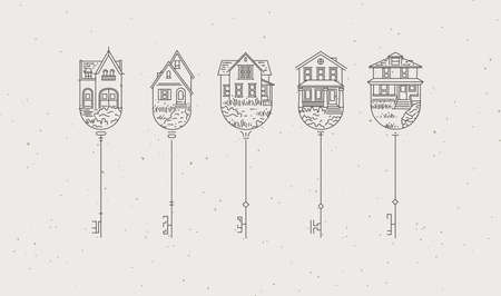 Set of house key collection in modern line style