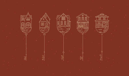 Set of house key collection in modern line style drawing on terracotta background.