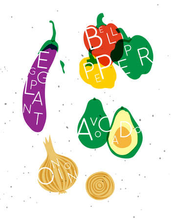 Set of color vegetables with inscription eggplant, bell pepper, avocado, onion drawing in minimalist style