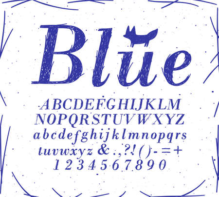 Alphabet crosshatch pen line style drawing with blue color on white background