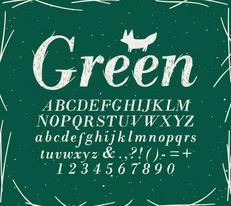 Alphabet crosshatch pen line style drawing on green background