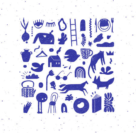 Set of hand drawn design signs drawing in crosshatch style in blue color on white background