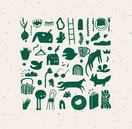 Set of hand drawn design signs drawing in crosshatch style in green color on beige background