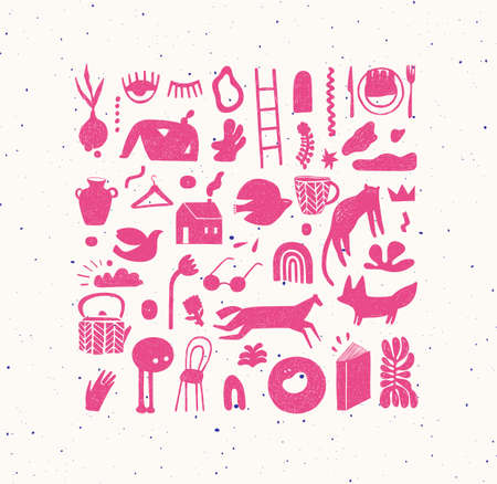 Set of hand drawn design signs drawing in crosshatch style in pink color on beige background