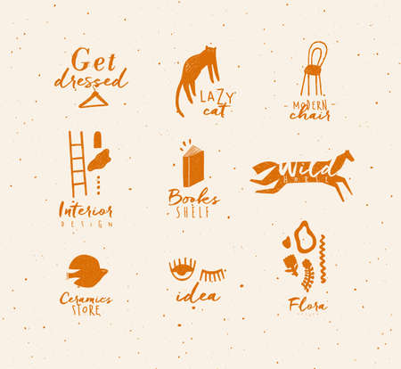 Crosshatch pen line style modern symbols drawing in mustard color