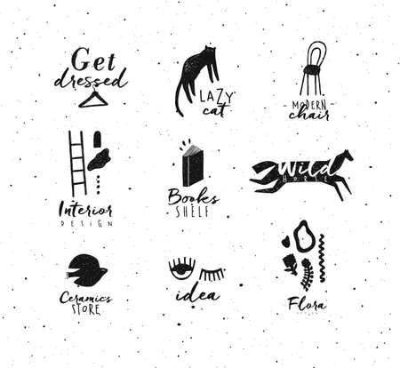 Crosshatch pen line style modern symbols drawing in black color on white background 矢量图像