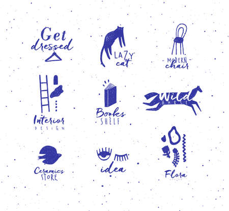 Crosshatch pen line style modern symbols drawing in blue color on white background