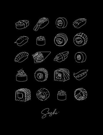 Sushi types set poster drawing in line style on black background Vecteurs