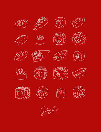 Sushi types set poster drawing in line style on red background