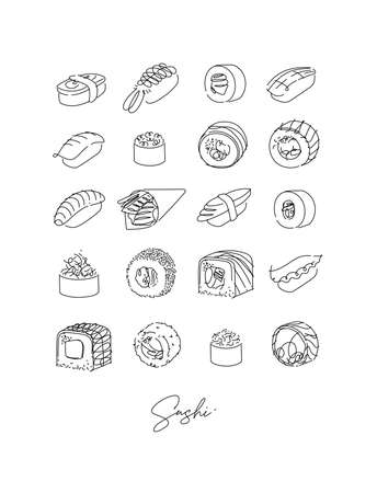 Sushi types set poster drawing in line style on white background 矢量图像