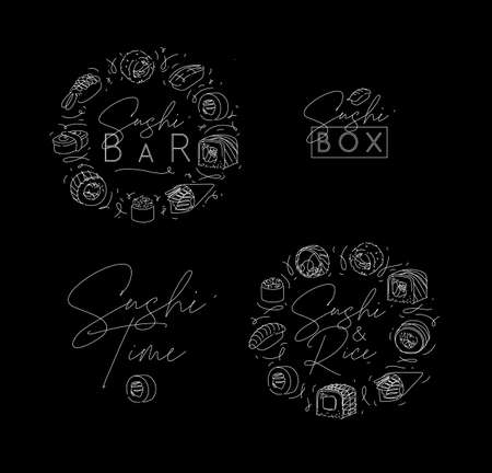 Sushi labels in line style drawing on black background 矢量图像