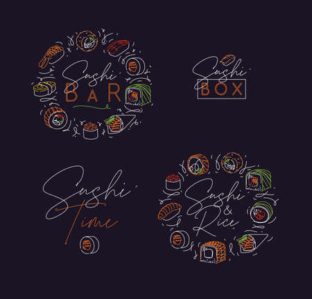Sushi labels in neon line style drawing on dark background
