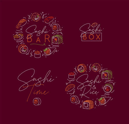 Sushi labels in neon line style drawing on burgundy color 矢量图像