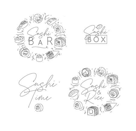 Sushi labels in line style drawing on white background