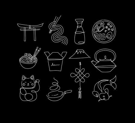 Sushi icon set in line style drawing on black background