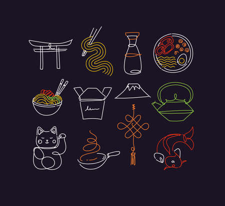 Sushi icon set in line neon style drawing on dark background