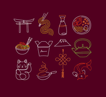 Sushi icon set in line neon style drawing on burgundy color background