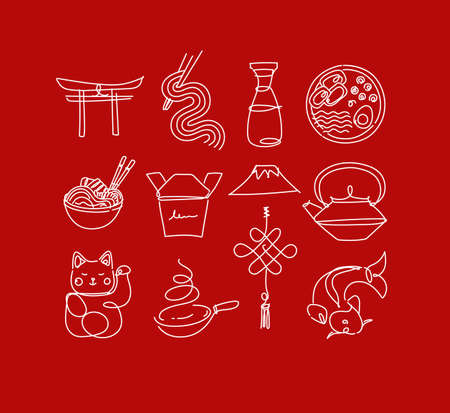 Sushi icon set in line style drawing on red background