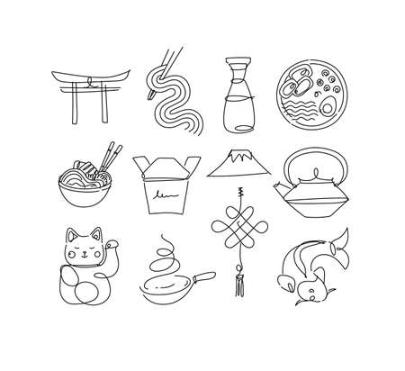 Sushi icon set in line style drawing on white background 矢量图像